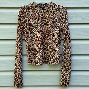 Leopard Print Mock Neck Top
